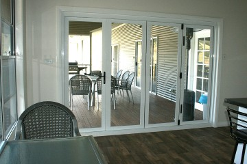 Looking from the kitchen out to the verandah